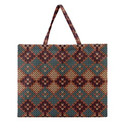 Knitted Pattern Zipper Large Tote Bag by BangZart