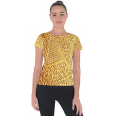 Gold Pattern Short Sleeve Sports Top