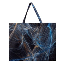 Fractal Tangled Minds Zipper Large Tote Bag by BangZart