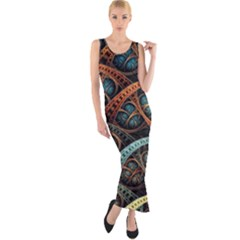 Fractal Art Pattern Flower Art Background Clored Fitted Maxi Dress by BangZart