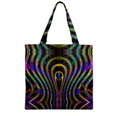Curves Color Abstract Zipper Grocery Tote Bag by BangZart