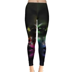 Digital Art Psychedelic Face Skull Color Leggings  by BangZart