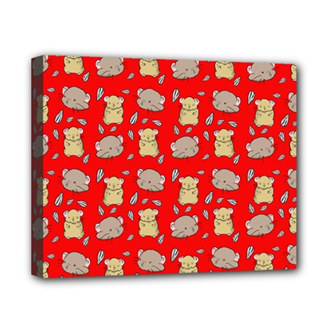 Cute Hamster Pattern Red Background Canvas 10  X 8  by BangZart