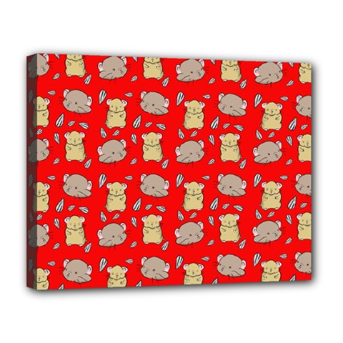 Cute Hamster Pattern Red Background Canvas 14  X 11  by BangZart