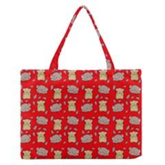 Cute Hamster Pattern Red Background Medium Zipper Tote Bag by BangZart