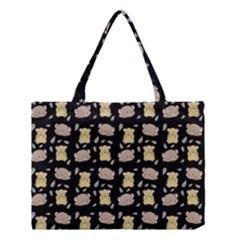 Cute Hamster Pattern Black Background Medium Tote Bag by BangZart