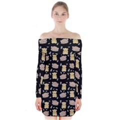 Cute Hamster Pattern Black Background Long Sleeve Off Shoulder Dress by BangZart
