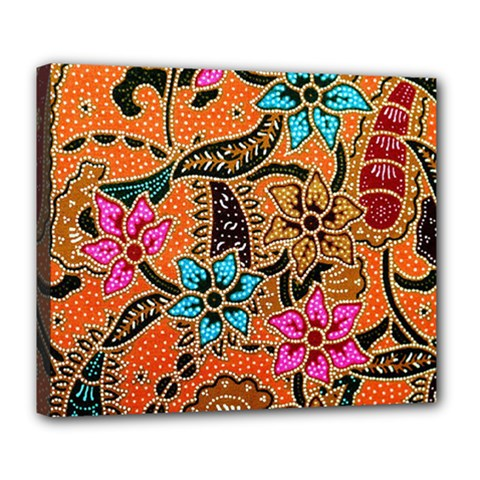 Colorful The Beautiful Of Art Indonesian Batik Pattern(1) Deluxe Canvas 24  X 20   by BangZart