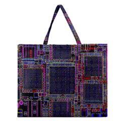 Cad Technology Circuit Board Layout Pattern Zipper Large Tote Bag by BangZart