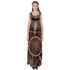 Brown Fractal Balls And Circles Empire Waist Maxi Dress