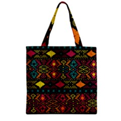 Bohemian Patterns Tribal Zipper Grocery Tote Bag by BangZart