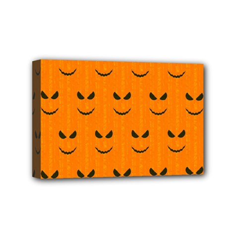 Funny Halloween   Face Pattern Mini Canvas 6  X 4  by MoreColorsinLife
