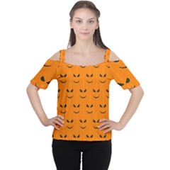 Funny Halloween   Face Pattern Cutout Shoulder Tee by MoreColorsinLife