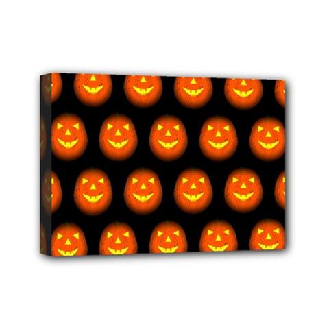 Funny Halloween   Pumpkin Pattern Mini Canvas 7  X 5  by MoreColorsinLife