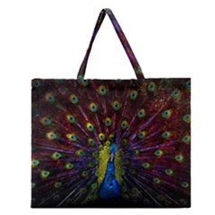 Beautiful Peacock Feather Zipper Large Tote Bag by BangZart
