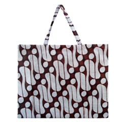 Batik Art Patterns Zipper Large Tote Bag by BangZart