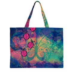 Background Colorful Bugs Zipper Large Tote Bag by BangZart