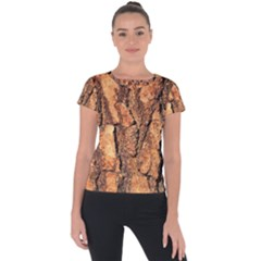 Bark Texture Wood Large Rough Red Wood Outside California Short Sleeve Sports Top