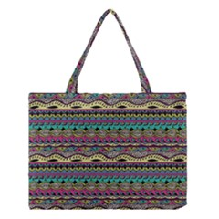 Aztec Pattern Cool Colors Medium Tote Bag by BangZart
