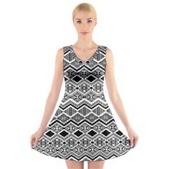 Aztec Design  Pattern V Neck Sleeveless Skater Dress