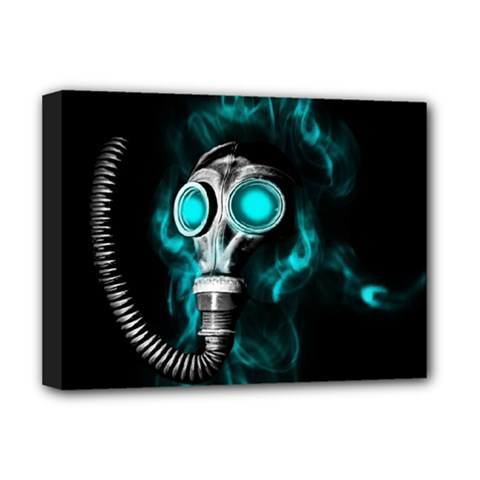 Gas Mask Deluxe Canvas 16  X 12   by Valentinaart