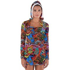 Art Color Dark Detail Monsters Psychedelic Long Sleeve Hooded T Shirt by BangZart