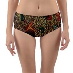 Art Traditional Flower  Batik Pattern Reversible Mid Waist Bikini Bottoms by BangZart