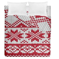 Crimson Knitting Pattern Background Vector Duvet Cover Double Side (queen Size)