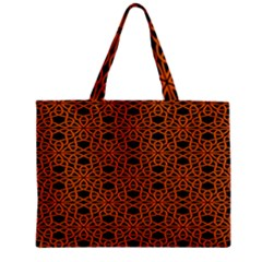 Triangle Knot Orange And Black Fabric Zipper Mini Tote Bag