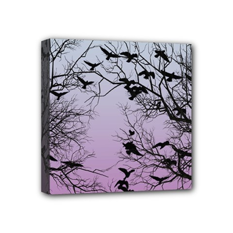 Crow Flock  Mini Canvas 4  X 4  by Valentinaart