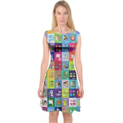 Exquisite Icons Collection Vector Capsleeve Midi Dress