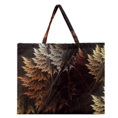 Fractalius Abstract Forests Fractal Fractals Zipper Large Tote Bag by BangZart