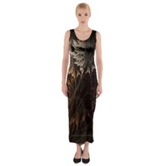 Fractalius Abstract Forests Fractal Fractals Fitted Maxi Dress by BangZart