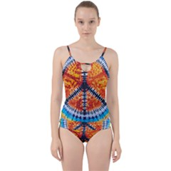 Tie Dye Peace Sign Cut Out Top Tankini Set