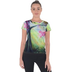 Forests Stunning Glimmer Paintings Sunlight Blooms Plants Love Seasons Traditional Art Flowers Sunsh Short Sleeve Sports Top