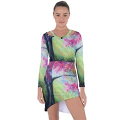 Forests Stunning Glimmer Paintings Sunlight Blooms Plants Love Seasons Traditional Art Flowers Sunsh Asymmetric Cut Out Shift Dress
