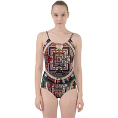 Colorful Mandala Cut Out Top Tankini Set