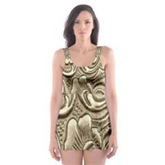 Golden European Pattern Skater Dress Swimsuit by BangZart
