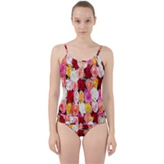 Rose Color Beautiful Flowers Cut Out Top Tankini Set