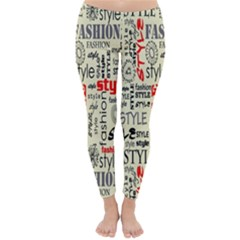 Backdrop Style With Texture And Typography Fashion Style Classic Winter Leggings by BangZart