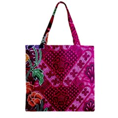 Pink Batik Cloth Fabric Zipper Grocery Tote Bag by BangZart