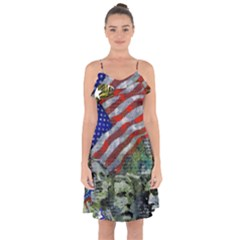 Usa United States Of America Images Independence Day Ruffle Detail Chiffon Dress by BangZart
