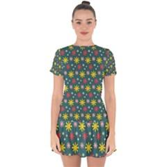 The Gift Wrap Patterns Drop Hem Mini Chiffon Dress