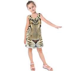 Leopard Face Kids  Sleeveless Dress by BangZart