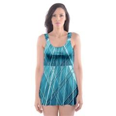 Glass Bulding Skater Dress Swimsuit by BangZart