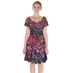 Circle Abstract Short Sleeve Bardot Dress