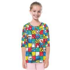 Snakes And Ladders Kids  Quarter Sleeve Raglan Tee by BangZart