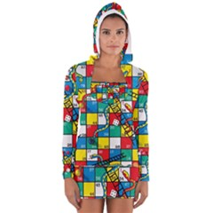 Snakes And Ladders Long Sleeve Hooded T Shirt by BangZart