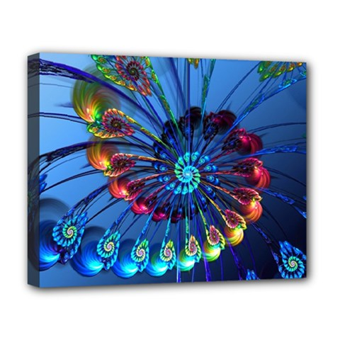 Top Peacock Feathers Deluxe Canvas 20  X 16   by BangZart