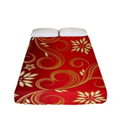 Golden Swirls Floral Pattern Fitted Sheet (full/ Double Size) by BangZart